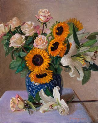 Rose sunflower lily still life oil painting original