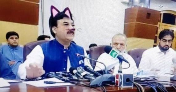 Pakistani Official Accidentally Uses Cat Filter During Live Press Conference