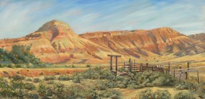 """Original Colorado Landscape Oil Painting, Western Landscape """"The Old Loading Dock"""" by Colorado Artist Nancee Jean Busse, Painter of the American West"""