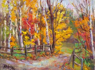 """Into the Woods III"" Palette Knife Autumn Birch Painting by Niki Gulley"