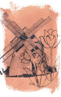 Windmill, 6x9 Mixed Media on Paper, Bronze and Black