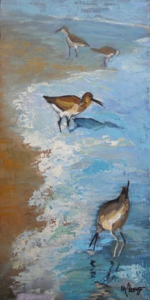 Seashore Friends, Bird Painting, Wildlife Art, Seascape Painting, Small Oil Painting, Beach House Wall Decor, Daily Painting