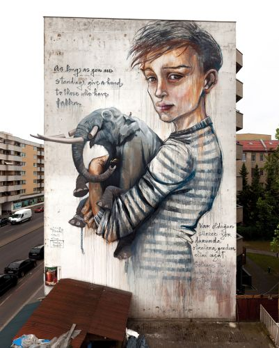 Herakut, Wes21 & Onur collaborate in Berlin, Germany