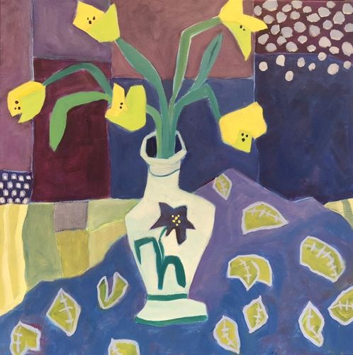"""Contemporary Expressionist Bold Still Life Flower Art Painting """"Spring Tulips"""" by Santa Fe Artist Annie O'Brien Gonzales"""
