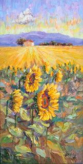 Sunflower Palette Knife Painting by Contemporary Impressionist Niki Gulley