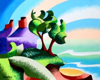 Mark Webster - House on the Coast - Abstract Geometric Landscape Oil Painting