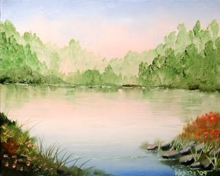 Mark Webster Artist - Misty Sunrise Foothill Lake Oil Painting
