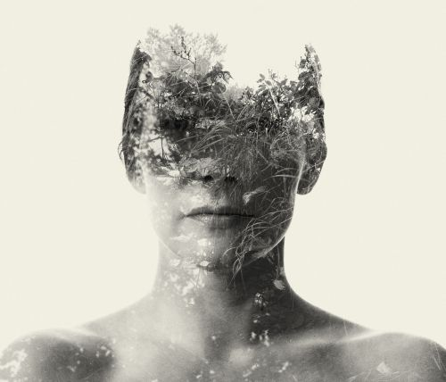 Human Subjects Distorted by Nature in Double-Exposure Photographs by Christoffer Relander