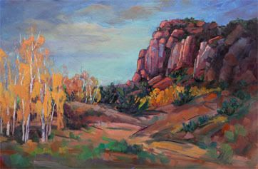 """Impressionist Landscape, Mountain Landscape, Trees, Fine Art Oil Painting """"Invisible Harmony"""" by Colorado Contemporary Fine Artist Jody Ahrens"""