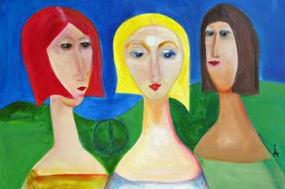 "Contemporary Figurative, Expressionist Painting ""Girlfriends"" International Contemporary Abstract Artist Arrachme"
