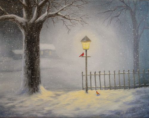 Cardinals by Lamplight - SOLD