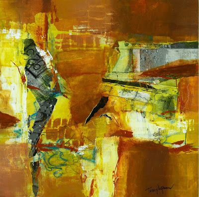 "Mixed Media Abstract Painting, Contemporary Art, Expressionism, ""Shattered"" by Contemporary Artist Tracy Lupanow"