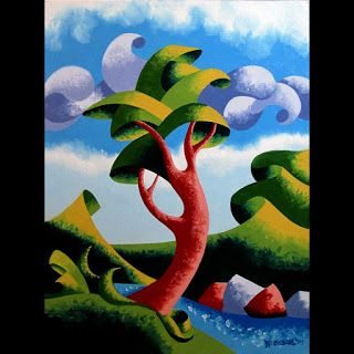 Mark Webster - Abstract Geometric Landscape Oil Painting 9.4.14
