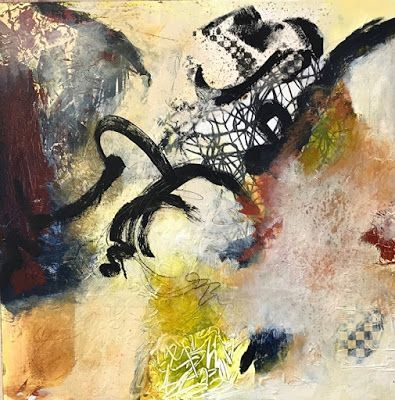 "Contemporary Art, Abstract Painting, Mixed Media ""The Tie that Binds"" by Contemporary Artist Liz Thoresen"