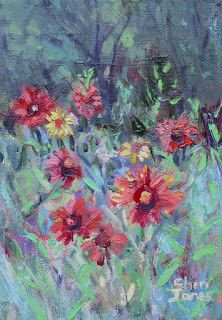 Indian Blanket Wild Flowers, New Contemporary Landscape Painting by Sheri Jones