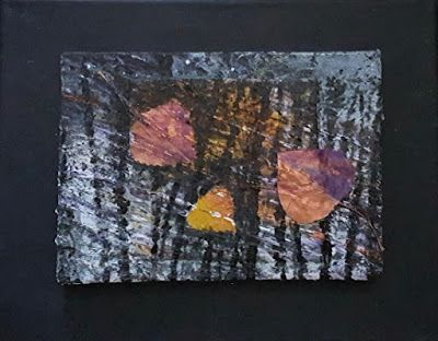 "Nature Art,Aspen Leaf, Mixed Media, Contemporary Abstract Art ""Night Dance"" by Contemporary Artist Gerri Calpin"