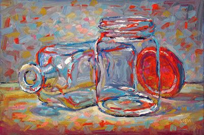 Bottle and Jar with Red Lid
