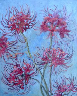 Spider Lily Blooms, New Contemporary floral Painting by Sheri Jones
