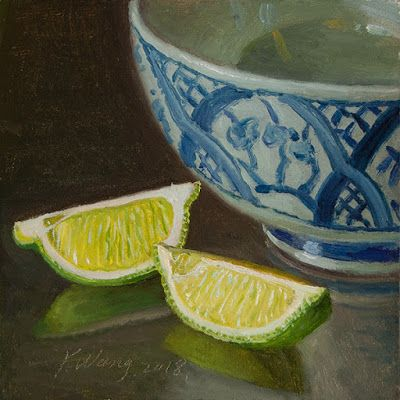 Lime slices with a bowl, still life oil painting a day