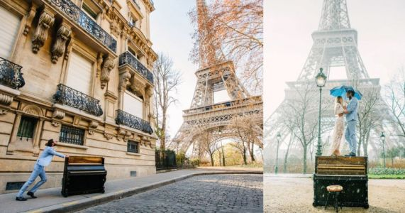 This Guy Pushed a Piano to the Eiffel Tower for His Wedding Day Photos