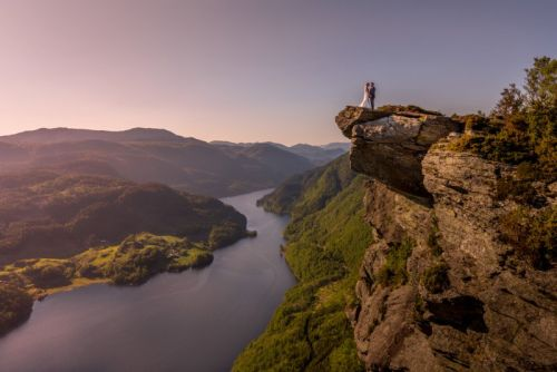 Shooting Wedding Photos on the 'Little Troll Tongue' in Norway