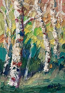 Day 25 - Textured Aspen Tree Painting by Niki Gulley