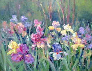 Iris Garden, New Contemporary Landscape Painting by Sheri Jones