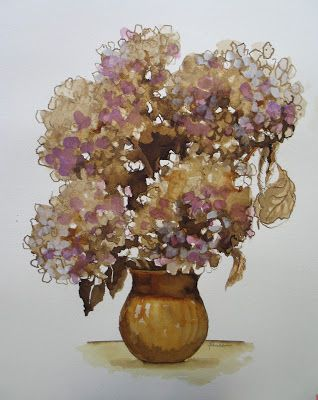 Dried Hydrangeas - Walnut Ink and Watercolor - SOLD