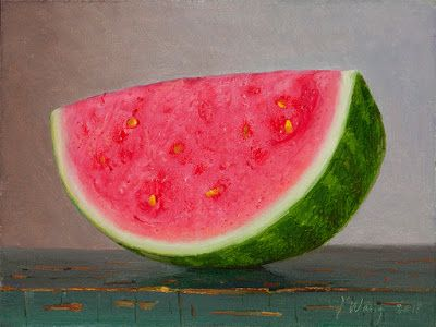 Watermelon slice still life oil painting original fruit daily painting a day