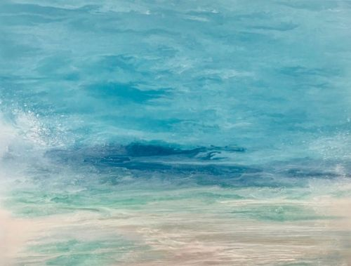 "Coastal Living Art Painting, Abstract Beach Art, Seascapes, Seascape Painting, Impressionist Seascape, Ocean Waves, Fine Art For Sale ""Sea Spray"" Skillern's Seas Series by International Contemporary Artist Kimberly Conrad"