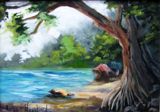 Beach Cove, miniature,oils,seascape,Barbara Haviland-Texas Contemporary Artist