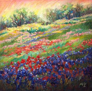 "New ""Visions of Wildflowers III"" Bluebonnet Painting by Texas Artist Niki Gulley"