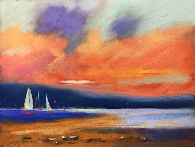 """Contemporary Beach Scene with Sailboats, """"Sail Away,"""" by Amy Whitehouse"""