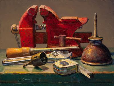 Still life with vise and oil can old tools contemporary realism original oil painting