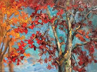 New Maple Treetops Palette Knife Painting by Contemporary Impressionist Niki Gulley