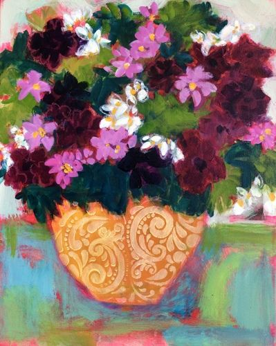 "Bold Expressive Still Life Art Painting, Flower Art ""Midsummer Bouquet"" by Santa Fe Artist Annie O'Brien Gonzales"