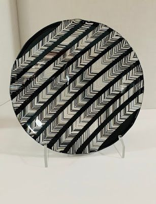 "Glass Art, Contemporary Art, ""BLACK, WHITE, AND CLEAR HERRINGBONE BOWL"" by Florida Contemporary Artist Mary Ann Ziegler"