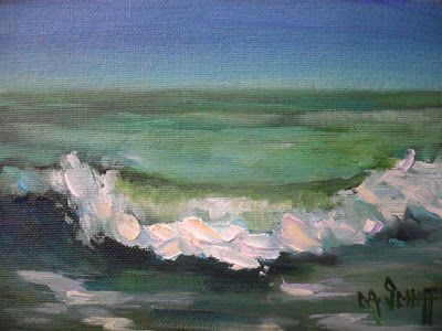 November Seascape, Small Oil Painting, Daily Painting, 5x7
