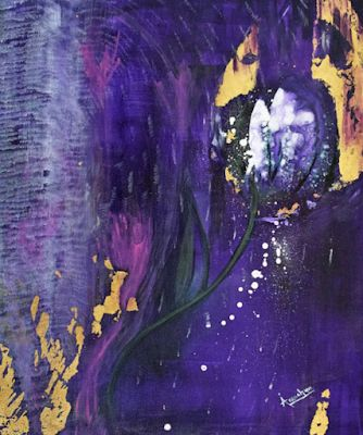 "Abstract Environmental Art , Purple Flower Painting ""Beauty Junkie"" by International Artist Arrachme"