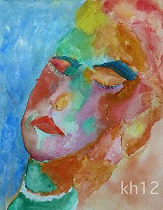 """Niera"" Female Watercolor Modern Art Abstract Portrait Painting by Colorado Artist Kit Hedman"