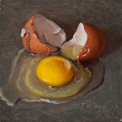 A cracked egg still life oil painting original small daily painting a day