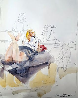 Figure Drawing with Pencil and Watercolor