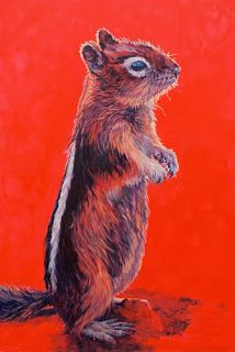 "Contemporary Colorful Wildlife Art Paintings, Chipmunk Art ""Storyteller"" by by Southeastern Wildlife Expo Artist Patricia A. Griffin"