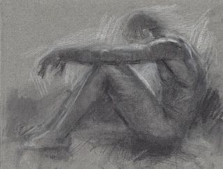 Sitting male nude drawing