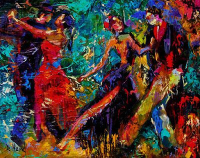 "Palette Knife Figurative Oil Painting,Couples Dance Art ""Dancers"" by Texas Artist Debra Hurd"