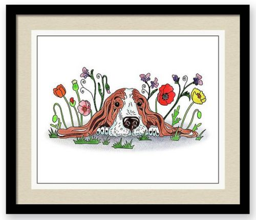 Adorable Basset Puppy In Poppies Watercolor Painting