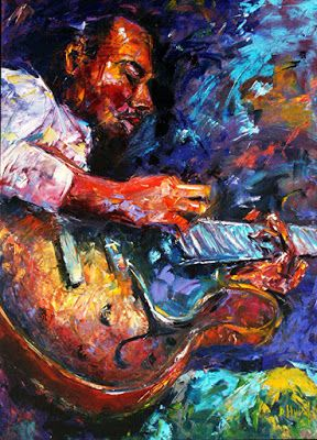 "Abstract Impressionist Musicians Jazz Paintings Music Painting ""Jazzy Guitar Print"" by Debra Hurd"