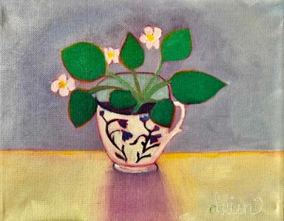 "Contemporary Abstract Bold Expressive Still Life Flower Art Painting, ""Sweet Violet"" by Santa Fe Artist Annie O'Brien Gonzales"