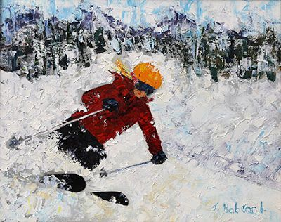 """Skier, Ski Art Paintings,Winter Art,Colorado Mountain Snow """"Down Hill Perfection"""" by Colorado Impressionist Judith Babcock"""