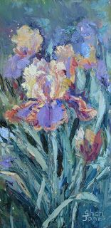 Golden Iris, New Contemporary Landscape Painting by Sheri Jones